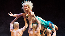 Kate Hurster and dancers Tim Rubel, Will Cooper, Jordon Waters and David Silpa, The Tempest (2014). Photo by Jenny Graham